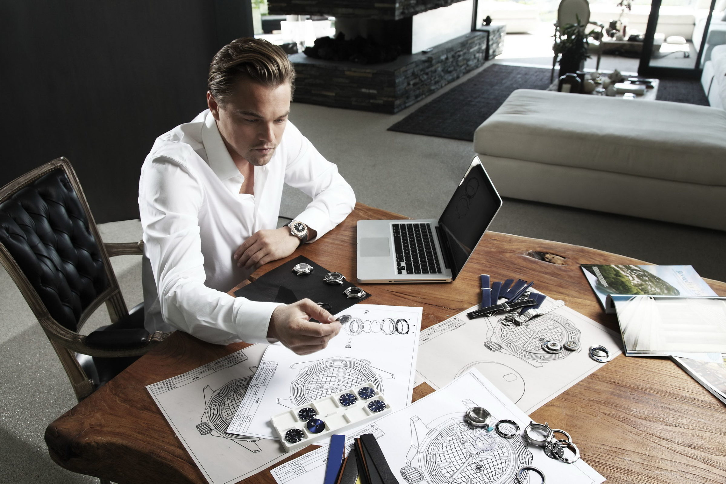 Leonardo DiCaprio Working on a table Image