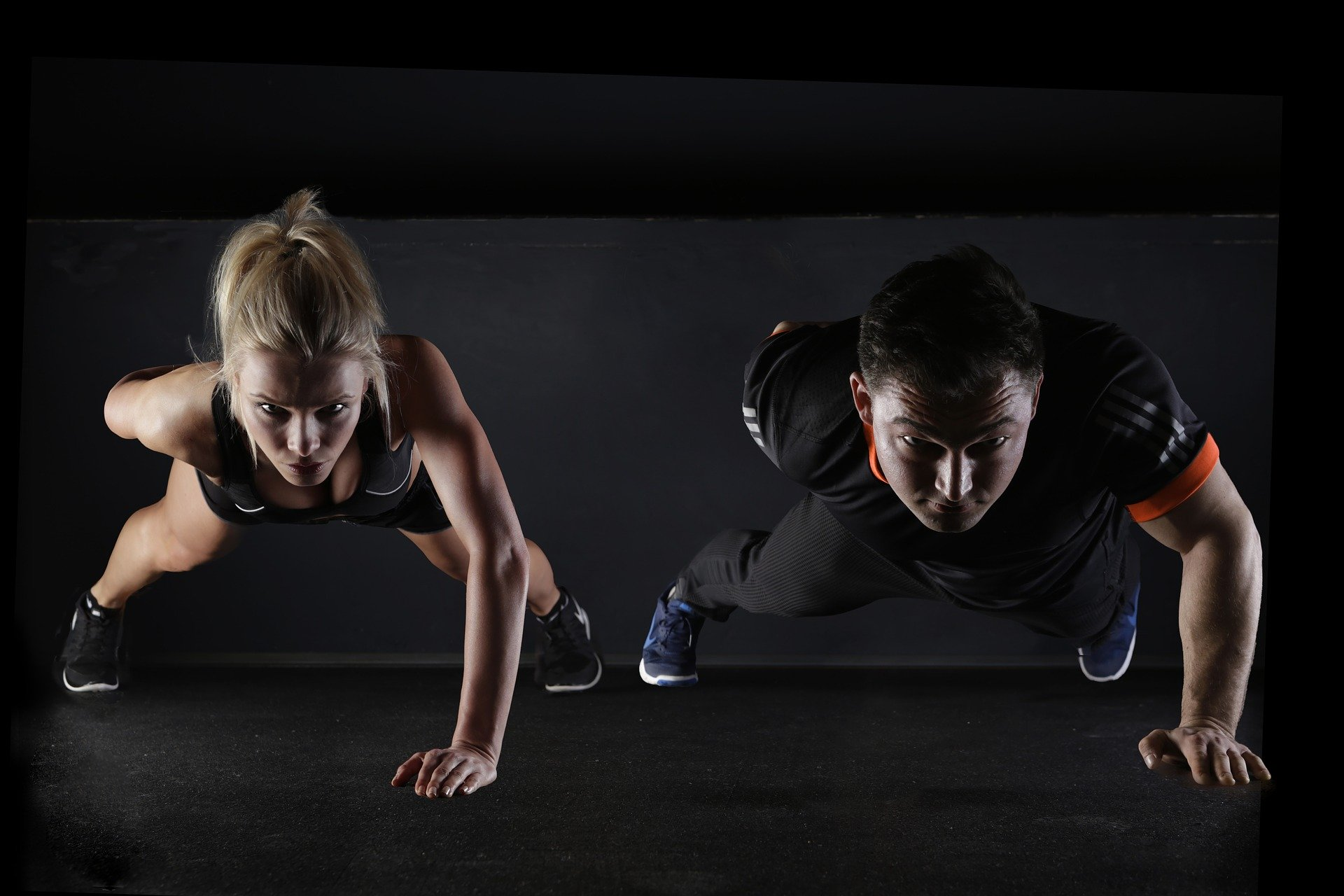 woman pushup workout for chest photo